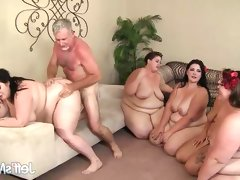 Chubby babes fucked in group..