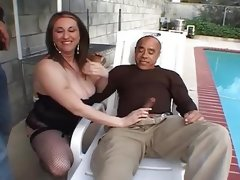 Fat milf pounded by two hard..