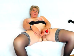 Mature woman in stockings..