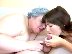 Granny and brunette blow..